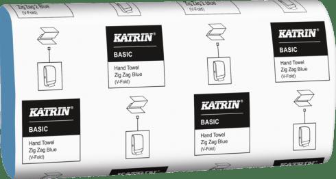 """Katrin Ręczniki papierowe składane """"V"""" Katrin Basic Hand Towel Zig Zag Blue"""